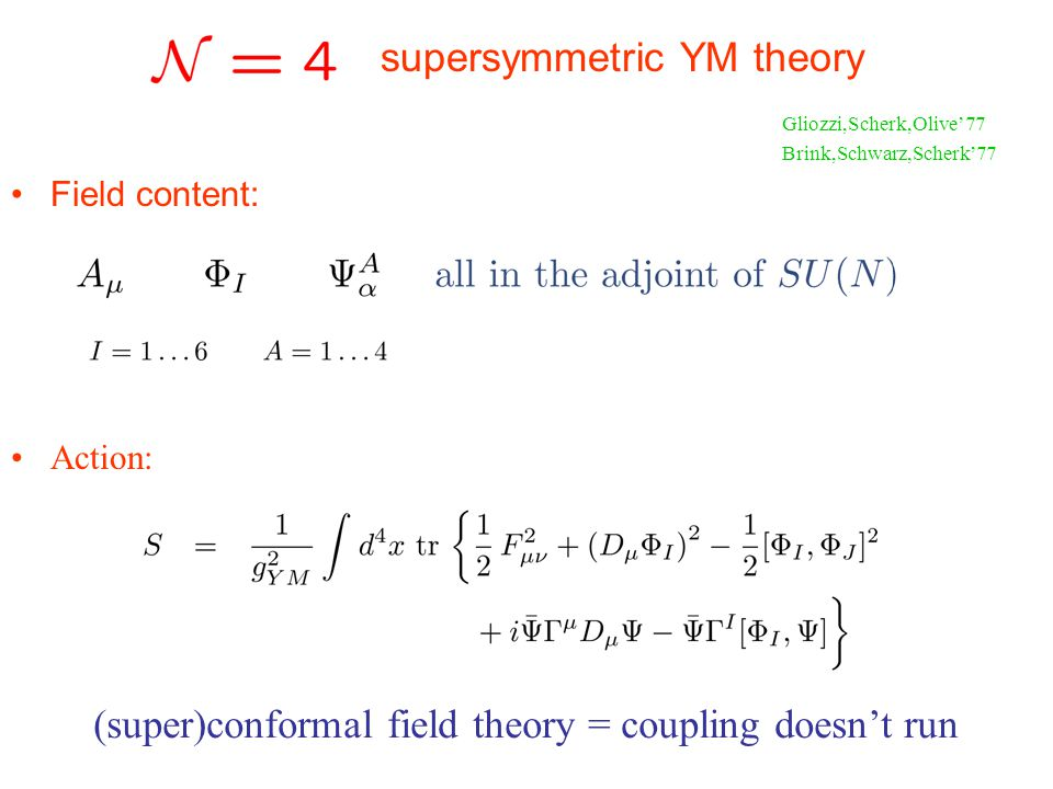 Field content: Action: Gliozzi,Scherk,Olive77 Brink,Schwarz,Scherk77 (super)conformal field theory = coupling doesnt run supersymmetric YM theory