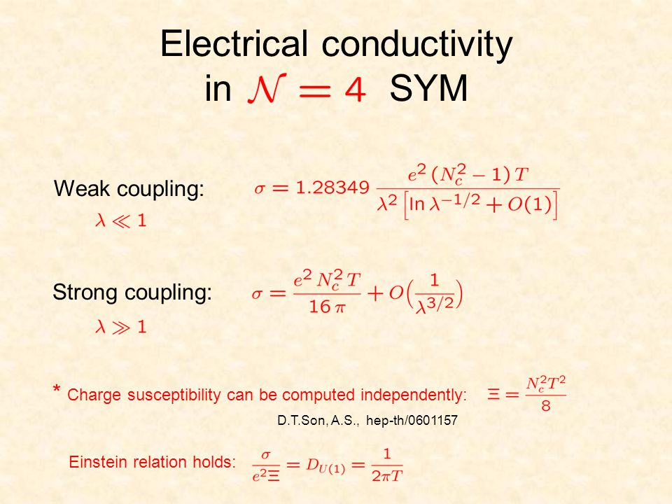 Electrical conductivity in SYM Weak coupling: Strong coupling: * Charge susceptibility can be computed independently: Einstein relation holds: D.T.Son