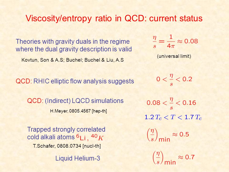 Viscosity/entropy ratio in QCD: current status QCD: RHIC elliptic flow analysis suggests Theories with gravity duals in the regime where the dual grav