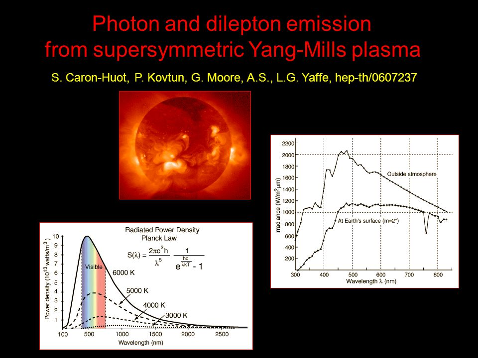 Photon and dilepton emission from supersymmetric Yang-Mills plasma S. Caron-Huot, P. Kovtun, G. Moore, A.S., L.G. Yaffe, hep-th/0607237