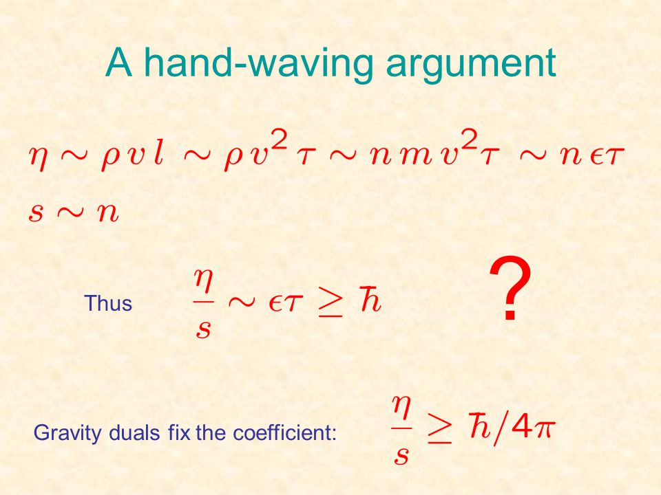 A hand-waving argument Gravity duals fix the coefficient: Thus ?