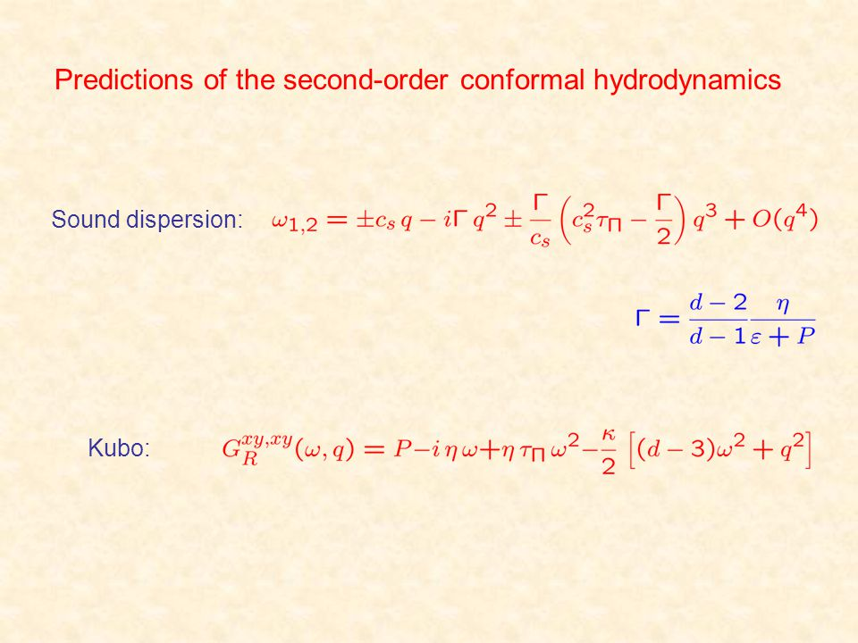 Predictions of the second-order conformal hydrodynamics Sound dispersion: Kubo: