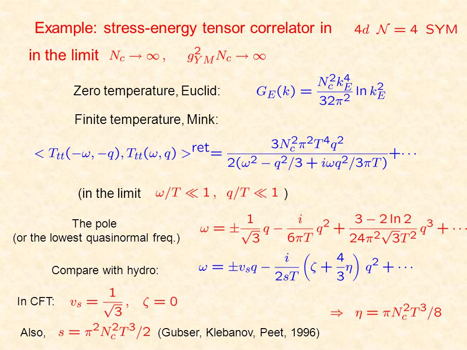 Example: stress-energy tensor correlator in in the limit Finite temperature, Mink: Zero temperature, Euclid: (in the limit ) The pole (or the lowest q
