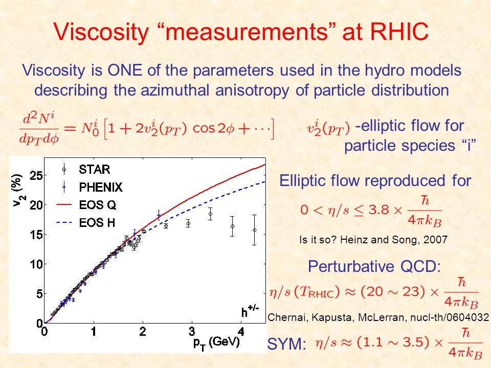 Viscosity measurements at RHIC Viscosity is ONE of the parameters used in the hydro models describing the azimuthal anisotropy of particle distributio