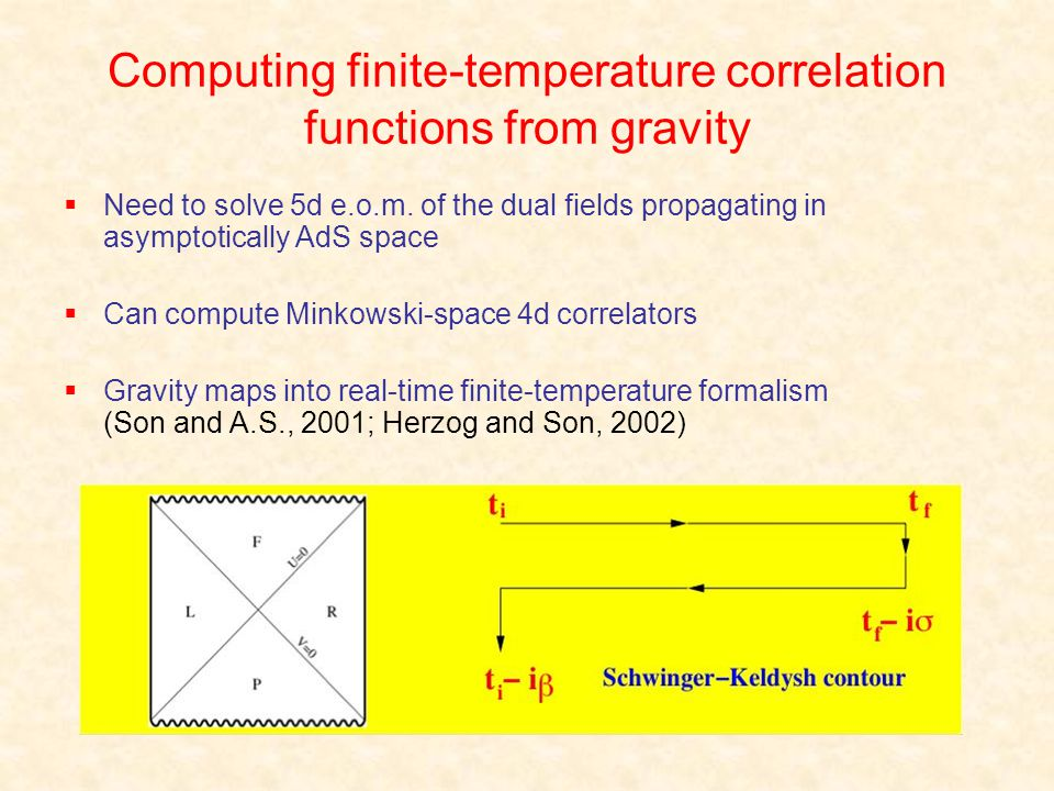 Computing finite-temperature correlation functions from gravity Need to solve 5d e.o.m. of the dual fields propagating in asymptotically AdS space Can