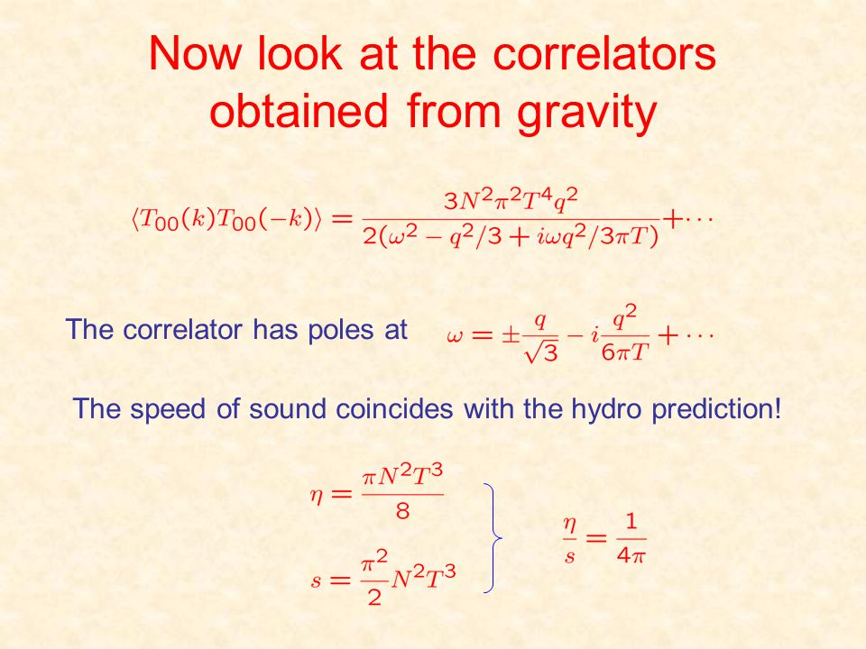 Now look at the correlators obtained from gravity The correlator has poles at The speed of sound coincides with the hydro prediction!