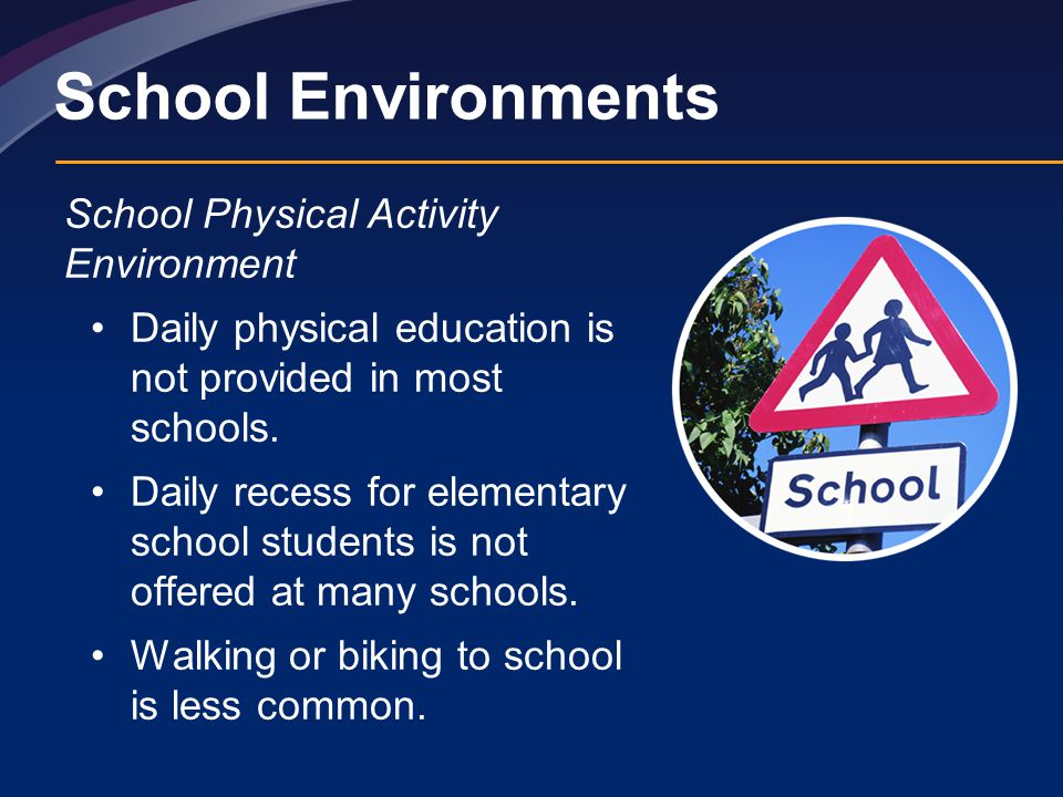 School Environments School Physical Activity Environment Daily physical education is not provided in most schools.