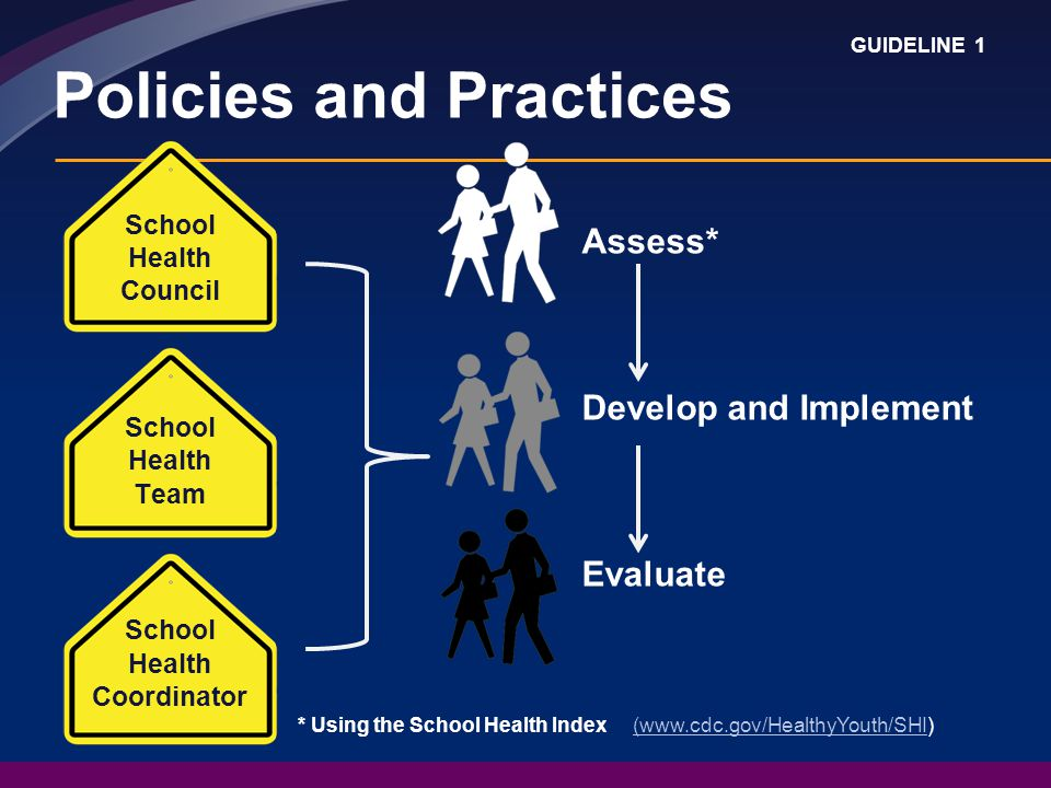 Assess* Develop and Implement Evaluate Policies and Practices School Health Council School Health Team School Health Coordinator * Using the School Health Index (  GUIDELINE 1