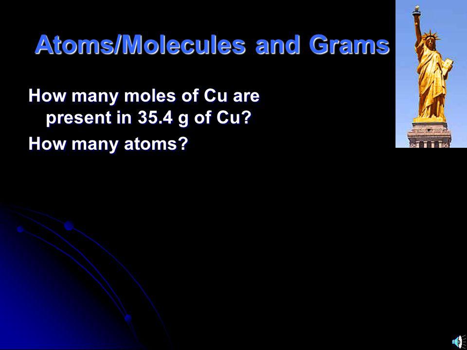 molar mass Avogadros number Grams Moles particles molar mass Avogadros number Grams Moles particles Everything must go through Moles!!.