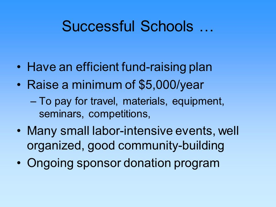 Successful Schools … Have an efficient fund-raising plan Raise a minimum of $5,000/year –To pay for travel, materials, equipment, seminars, competitions, Many small labor-intensive events, well organized, good community-building Ongoing sponsor donation program
