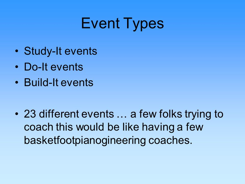 Event Types Study-It events Do-It events Build-It events 23 different events … a few folks trying to coach this would be like having a few basketfootpianogineering coaches.
