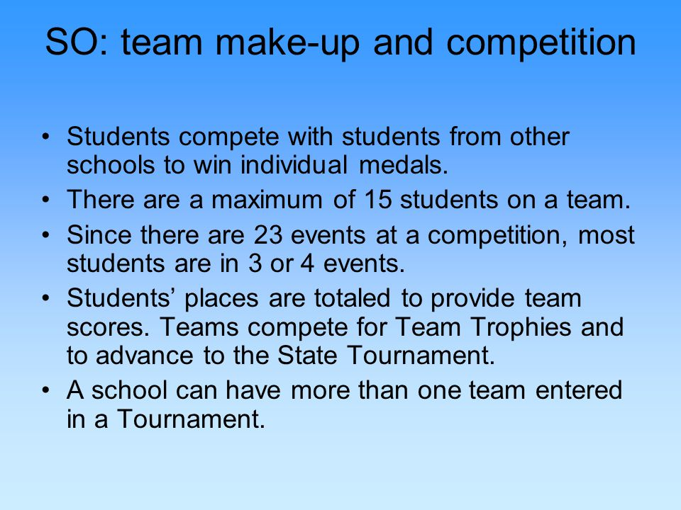 SO: team make-up and competition Students compete with students from other schools to win individual medals.
