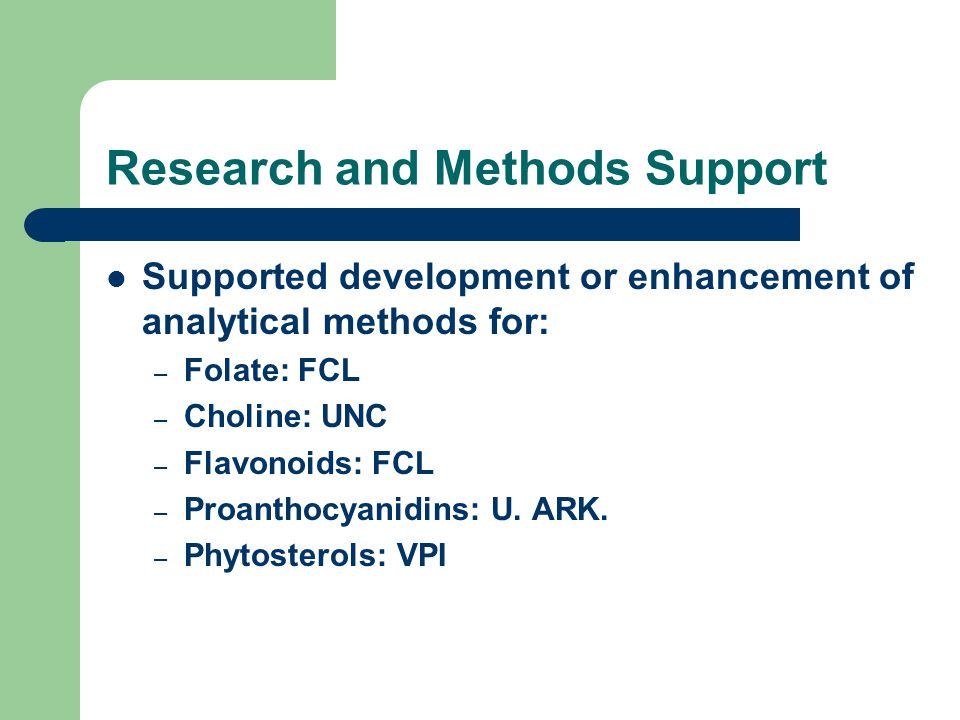 Research and Methods Support Supported development or enhancement of analytical methods for: – Folate: FCL – Choline: UNC – Flavonoids: FCL – Proantho