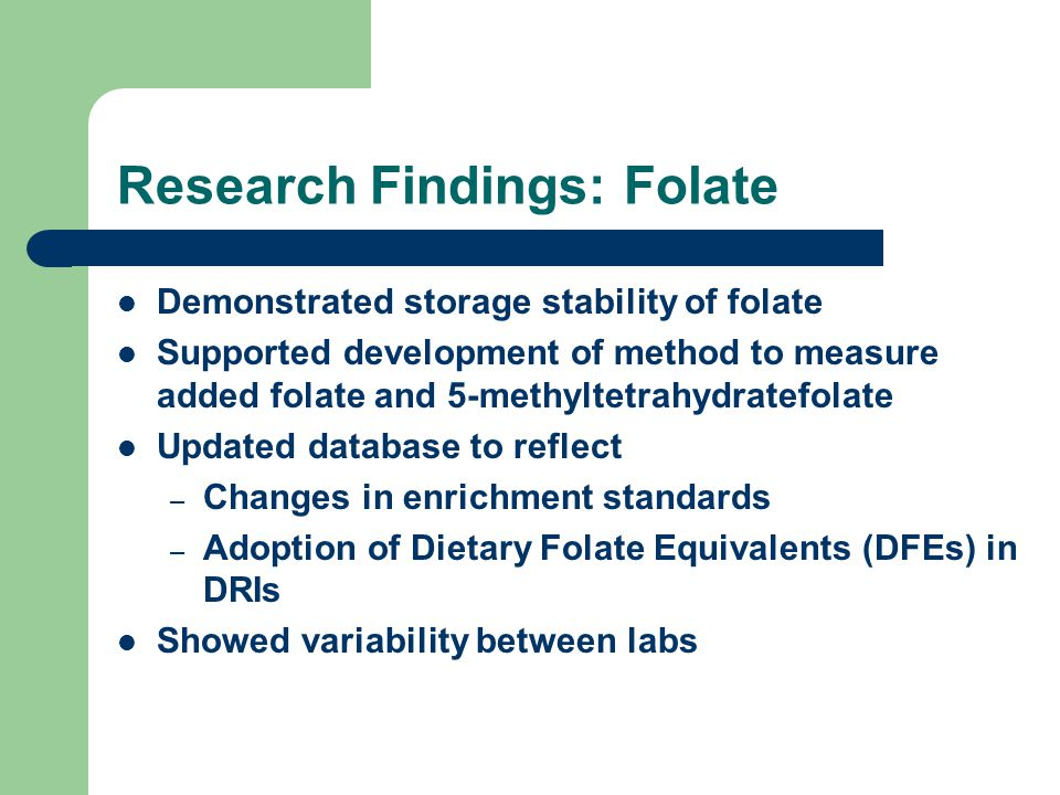Research Findings: Folate Demonstrated storage stability of folate Supported development of method to measure added folate and 5-methyltetrahydratefol