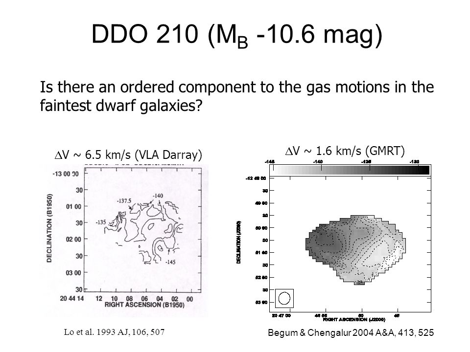 DDO 210 (M B -10.6 mag) V ~ 6.5 km/s (VLA Darray) Lo et al. 1993 AJ, 106, 507 Is there an ordered component to the gas motions in the faintest dwarf g