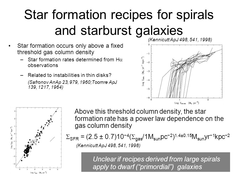 Star formation recipes for spirals and starburst galaxies Star formation occurs only above a fixed threshold gas column density –Star formation rates