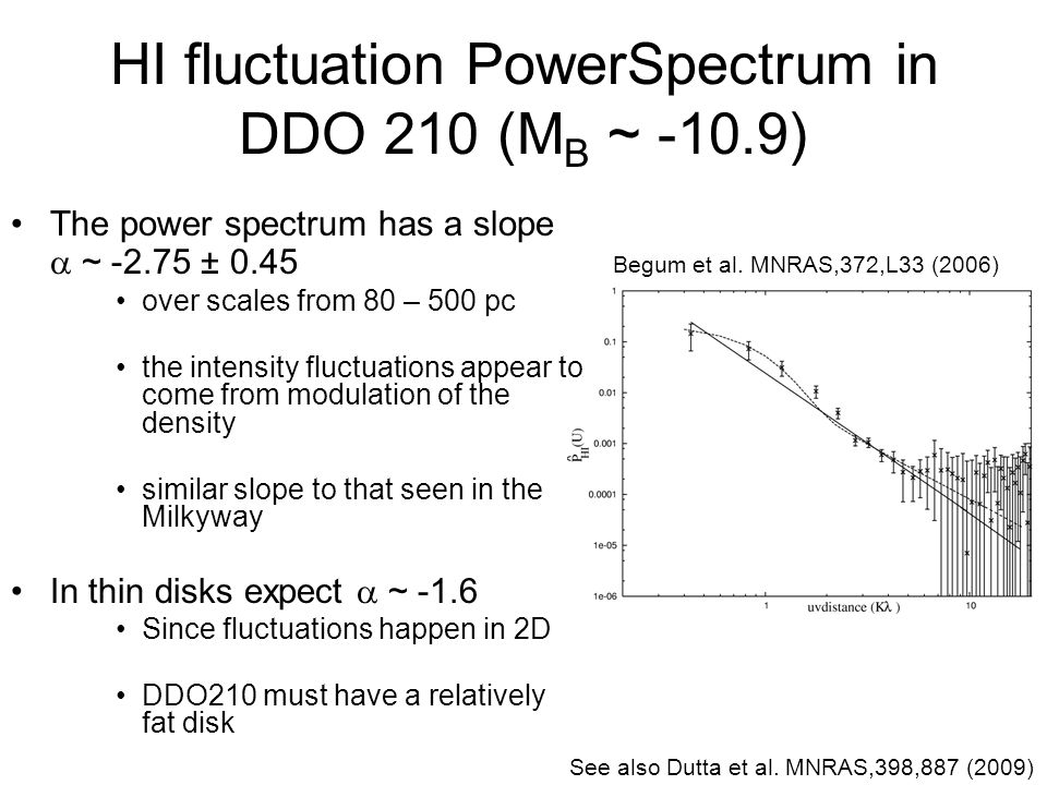 HI fluctuation PowerSpectrum in DDO 210 (M B ~ -10.9) The power spectrum has a slope ~ -2.75 ± 0.45 over scales from 80 – 500 pc the intensity fluctua