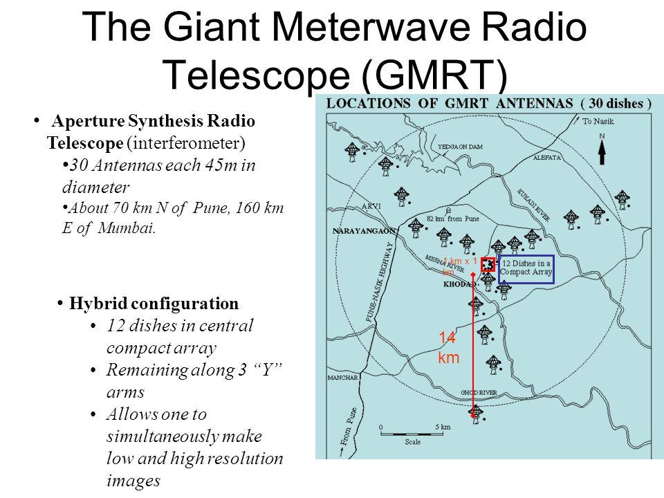 The Giant Meterwave Radio Telescope (GMRT) Aperture Synthesis Radio Telescope (interferometer) 30 Antennas each 45m in diameter About 70 km N of Pune,