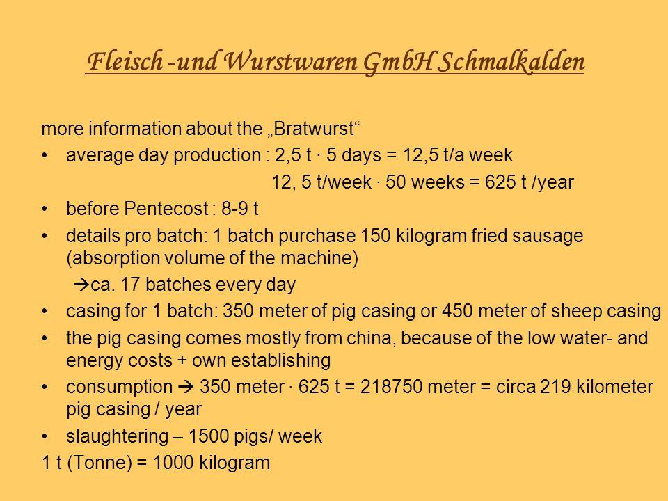 Fleisch -und Wurstwaren GmbH Schmalkalden more information about the Bratwurst average day production : 2,5 t 5 days = 12,5 t/a week 12, 5 t/week 50 w