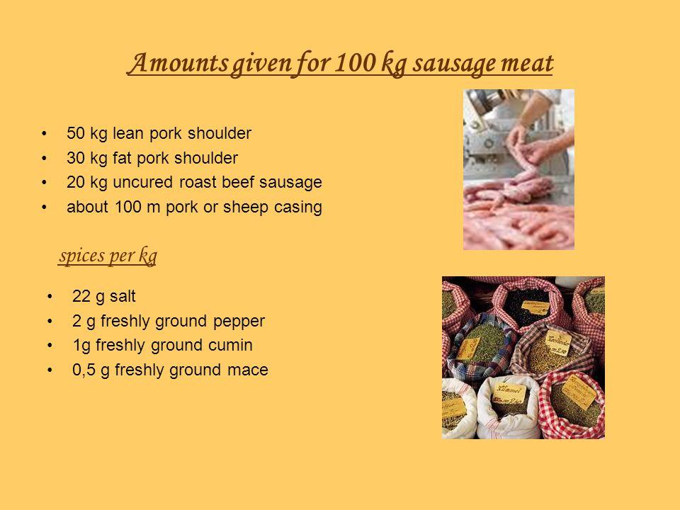 Amounts given for 100 kg sausage meat 50 kg lean pork shoulder 30 kg fat pork shoulder 20 kg uncured roast beef sausage about 100 m pork or sheep casi