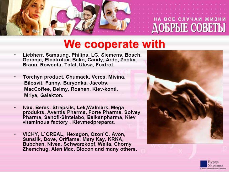 We cooperate with Liebherr, Samsung, Philips, LG, Siemens, Bosch, Gorenje, Electrolux, Beko, Candy, Ardo, Zepter, Braun, Rowenta, Tefal, Ufesa, Foxtrot.