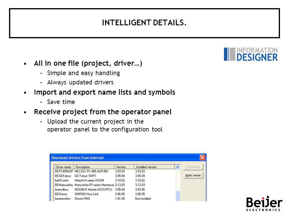 INTELLIGENT DETAILS. All in one file (project, driver…) –Simple and easy handling –Always updated drivers Import and export name lists and symbols –Sa