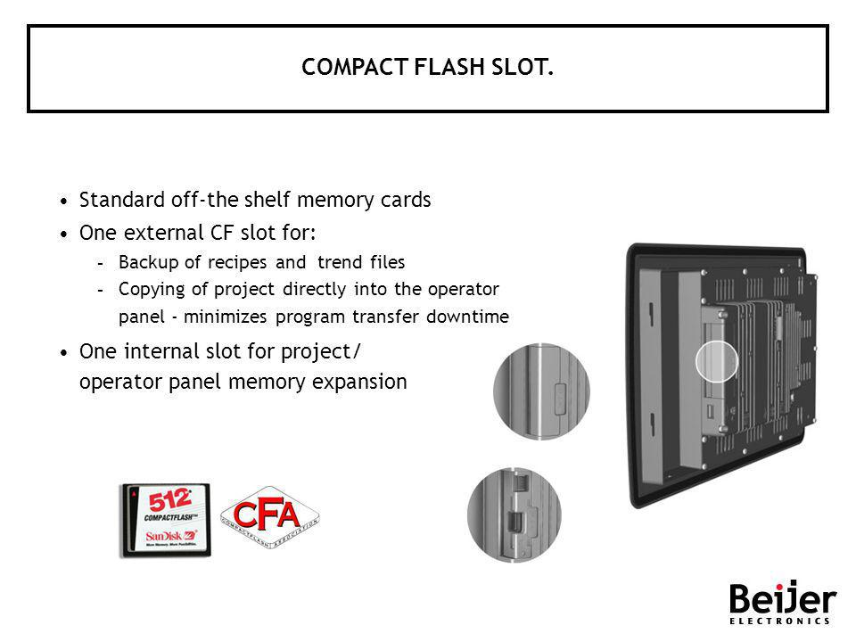Standard off-the shelf memory cards One external CF slot for:  Backup of recipes and trend files  Copying of project directly into the operator pane