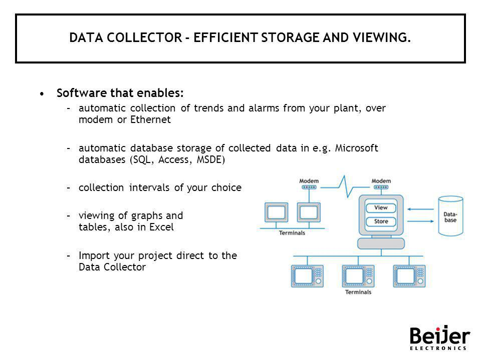 DATA COLLECTOR - EFFICIENT STORAGE AND VIEWING. Software that enables: –automatic collection of trends and alarms from your plant, over modem or Ether