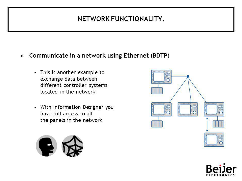 NETWORK FUNCTIONALITY. Communicate in a network using Ethernet (BDTP) –This is another example to exchange data between different controller systems l