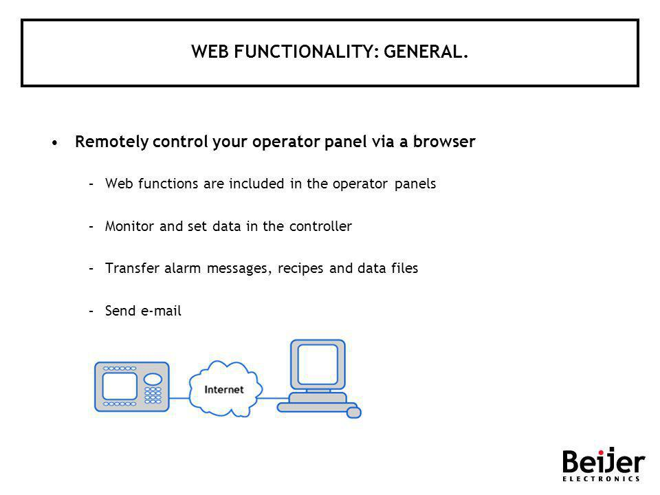 WEB FUNCTIONALITY: GENERAL. Remotely control your operator panel via a browser –Web functions are included in the operator panels –Monitor and set dat