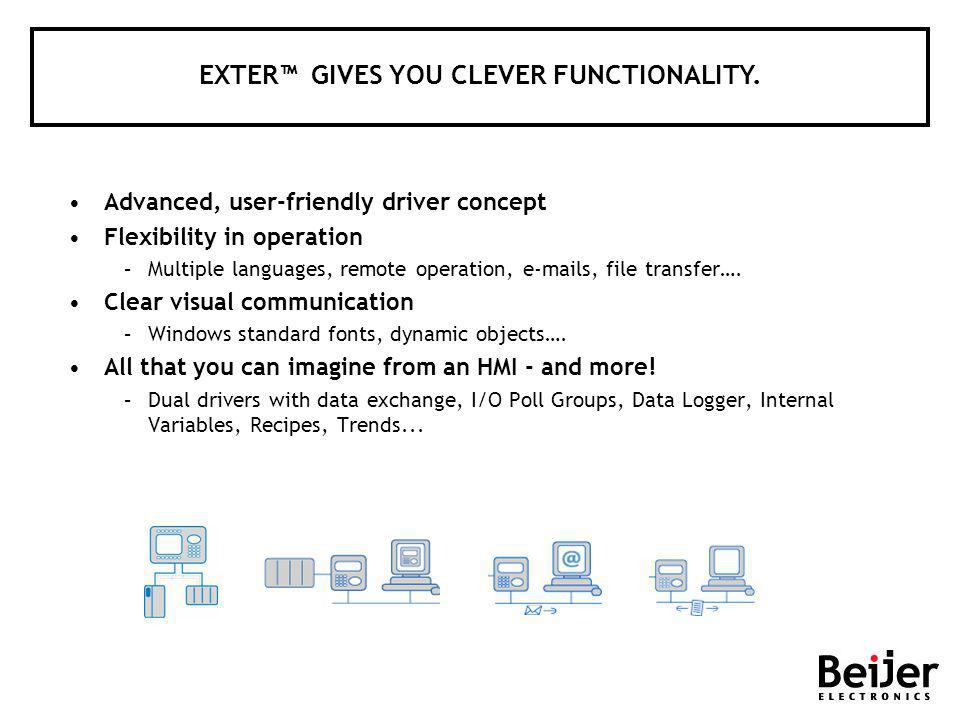 Advanced, user-friendly driver concept Flexibility in operation –Multiple languages, remote operation, e-mails, file transfer…. Clear visual communica