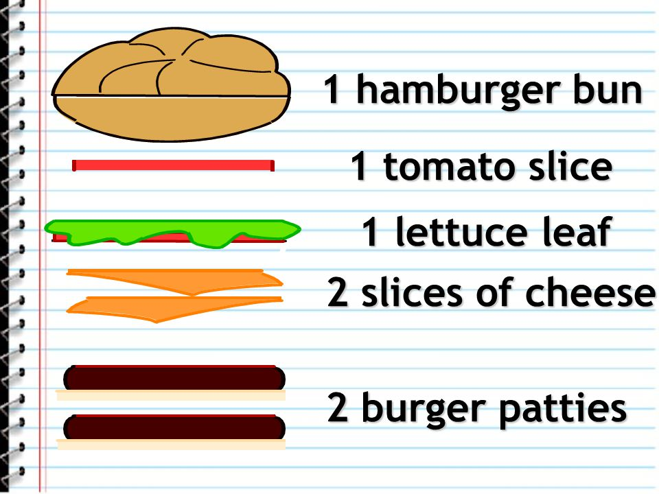 1 hamburger bun 1 tomato slice 1 lettuce leaf 2 slices of cheese 2 burger patties