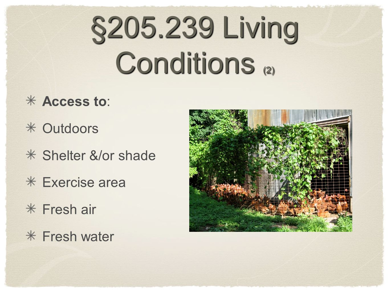 §205.239 Living Conditions (2) Access to: Outdoors Shelter &/or shade Exercise area Fresh air Fresh water