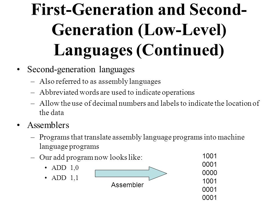 Second-generation languages –Also referred to as assembly languages –Abbreviated words are used to indicate operations –Allow the use of decimal numbers and labels to indicate the location of the data Assemblers –Programs that translate assembly language programs into machine language programs –Our add program now looks like: ADD 1,0 ADD 1,1 First-Generation and Second- Generation (Low-Level) Languages (Continued) 1001 0001 0000 1001 0001 0001 Assembler