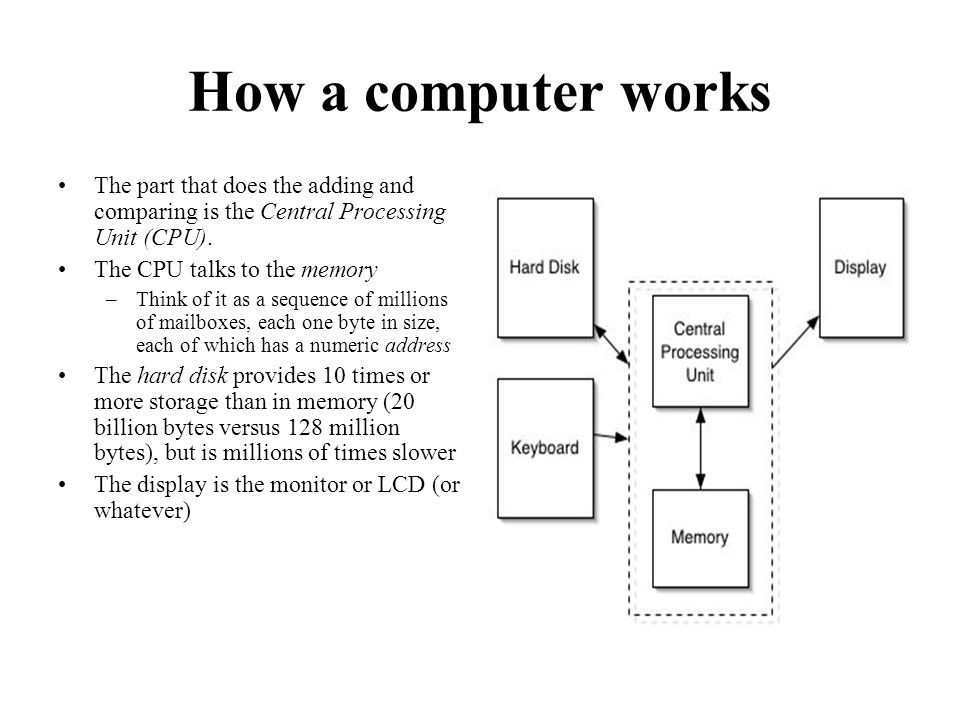 How a computer works The part that does the adding and comparing is the Central Processing Unit (CPU).