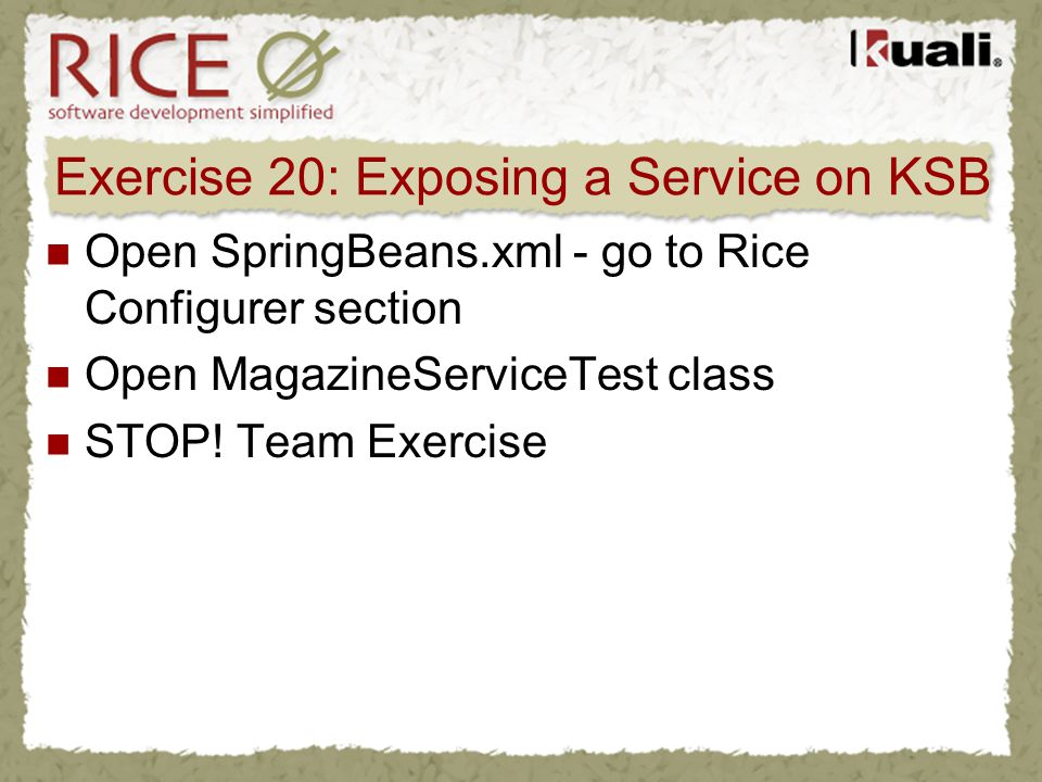 Exercise 20: Exposing a Service on KSB Open SpringBeans.xml - go to Rice Configurer section Open MagazineServiceTest class STOP! Team Exercise