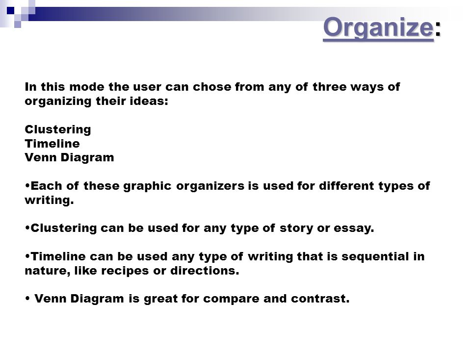 In this mode the user can chose from any of three ways of organizing their ideas: Clustering Timeline Venn Diagram Each of these graphic organizers is used for different types of writing.