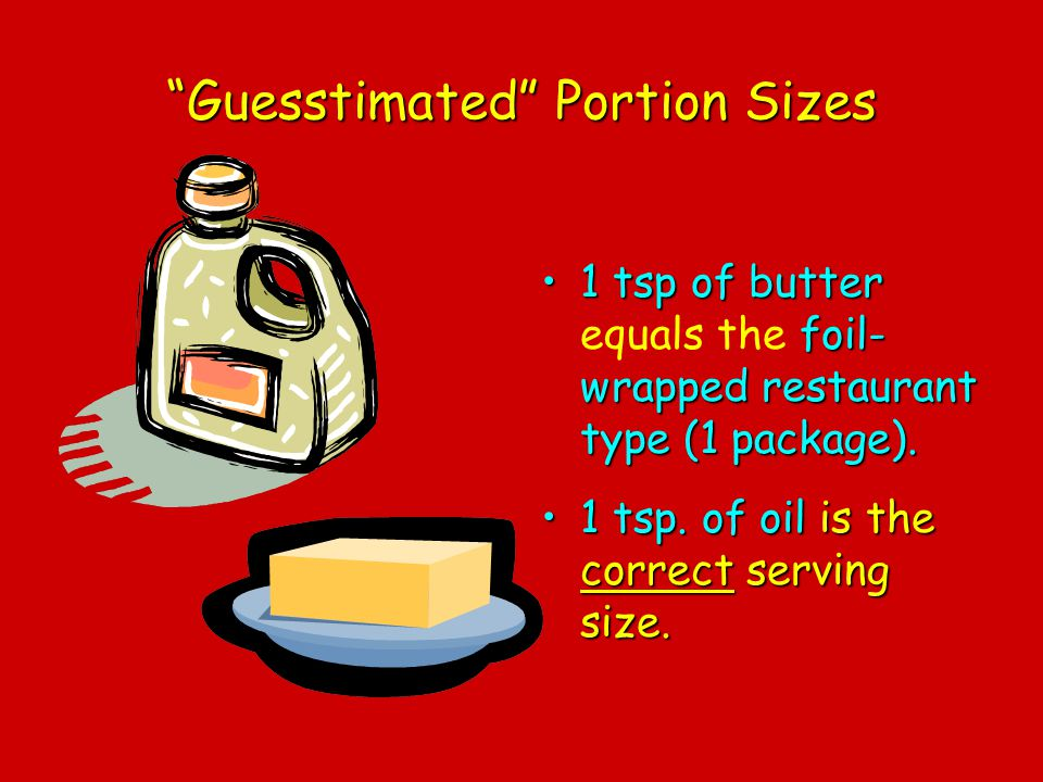 Guesstimated Portion Sizes 1 tsp of butter foil- wrapped restaurant type (1 package).1 tsp of butter equals the foil- wrapped restaurant type (1 packa