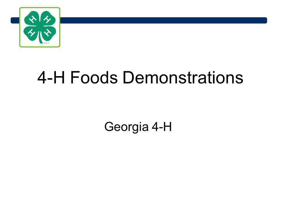 4-H Foods Demonstrations Georgia 4-H