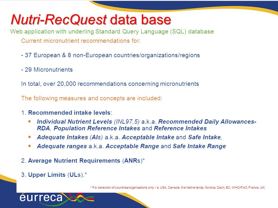 14 Nutri-RecQuest data base Nutri-RecQuest data base Web application with underling Standard Query Language (SQL) database Current micronutrient recommendations for: - 37 European & 8 non-European countries/organizations/regions - 29 Micronutrients In total, over 20,000 recommendations concerning micronutrients The following measures and concepts are included: 1.