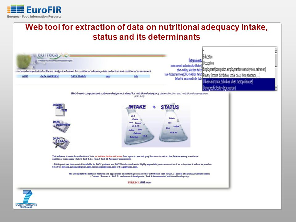 Web tool for extraction of data on nutritional adequacy intake, status and its determinants