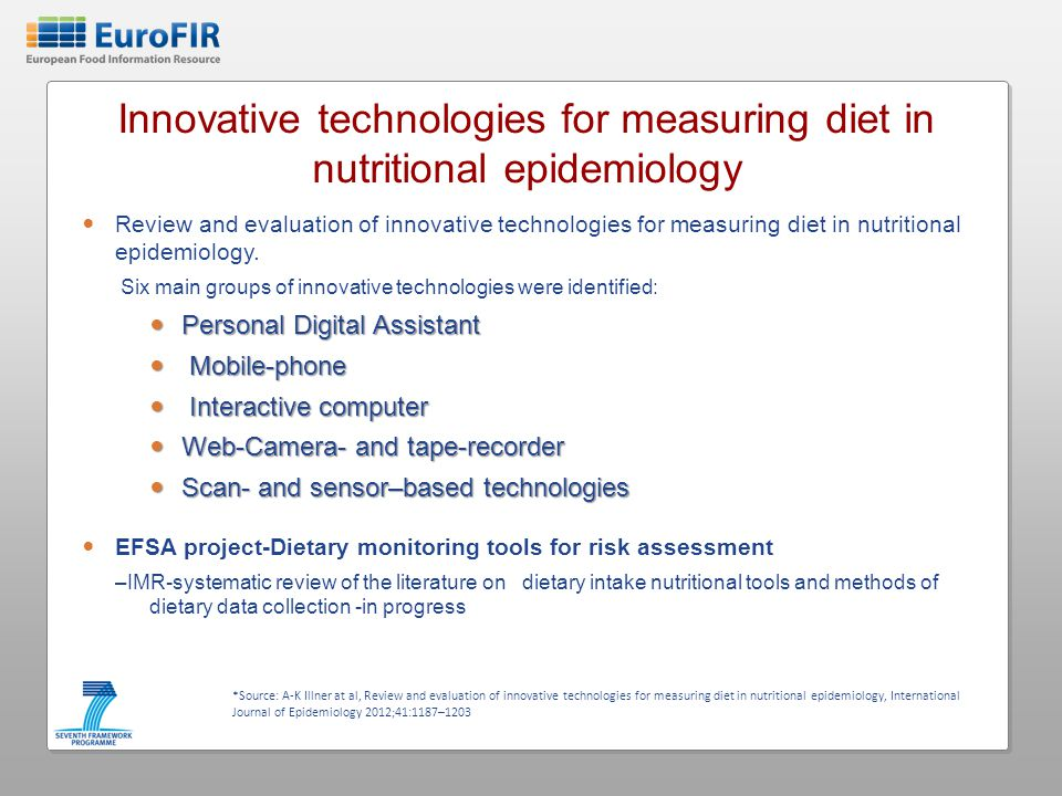 Innovative technologies for measuring diet in nutritional epidemiology Review and evaluation of innovative technologies for measuring diet in nutritional epidemiology.