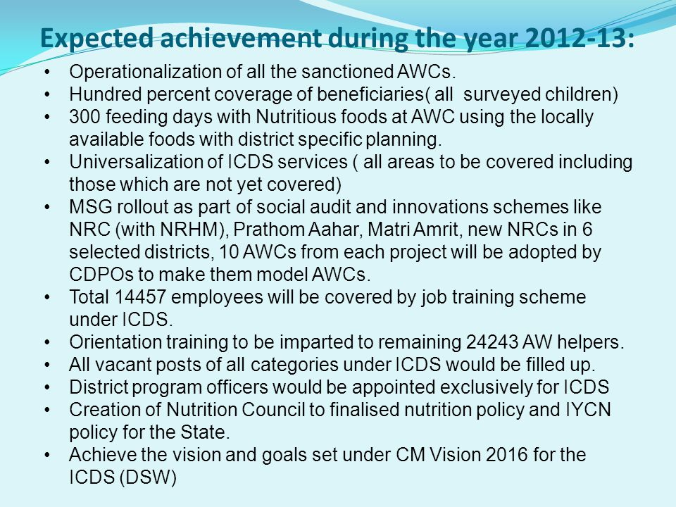 Expected achievement during the year 2012-13: Operationalization of all the sanctioned AWCs. Hundred percent coverage of beneficiaries( all surveyed c