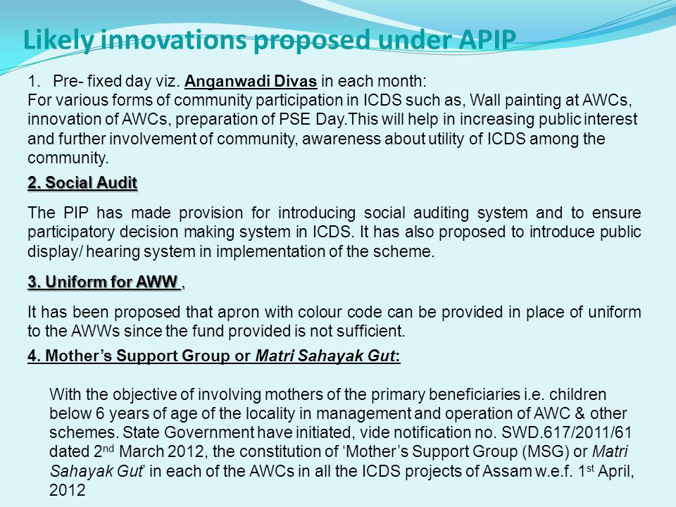 Likely innovations proposed under APIP 5.