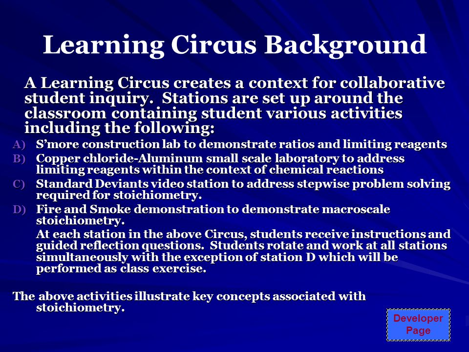 Learning Circus Background A Learning Circus creates a context for collaborative student inquiry.