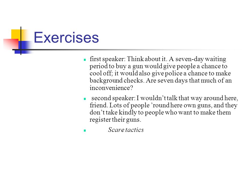 Exercises first speaker: Think about it.