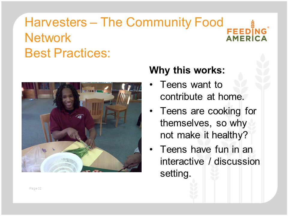 Slide with text and image Harvesters – The Community Food Network Best Practices: Why this works: Teens want to contribute at home. Teens are cooking