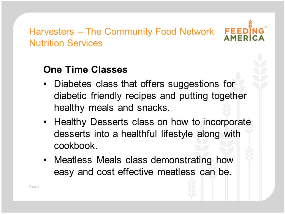 Slide with text and image harvesters the community food network harvesters the community food network nutrition services one time classes diabetes class that offers suggestions forumfinder Choice Image