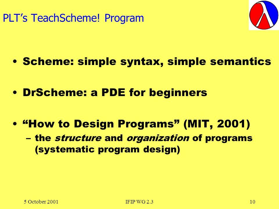 5 October 2001IFIP WG 2.310 PLTs TeachScheme.