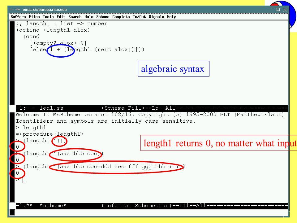 5 October 2001IFIP WG 2.314 length1 returns 0, no matter what input algebraic syntax